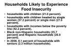 households likely to experience food insecurity