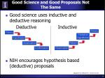 good science and good proposals not the same