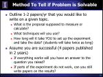 method to tell if problem is solvable