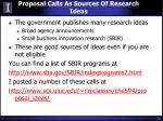 proposal calls as sources of research ideas