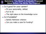 summary you need to evaluate proposed ideas before you write the proposal