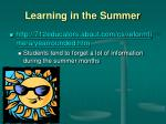 learning in the summer