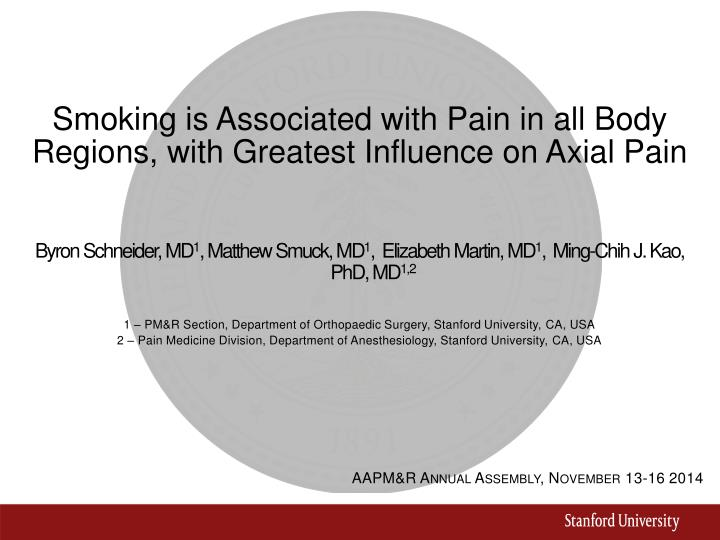 smoking is associated with pain in all body regions with greatest influence on axial pain n.
