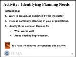 activity identifying planning needs