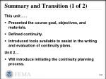 summary and transition 1 of 2