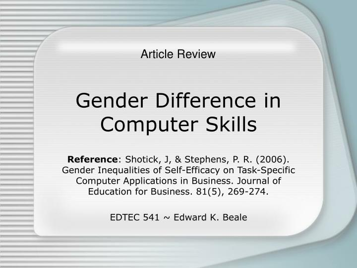 gender difference in computer skills n.