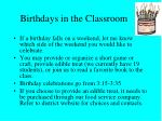 birthdays in the classroom