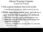 about truman capote context for writing1