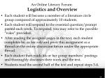 an online literary forum logistics and overview