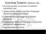 learning targets students will