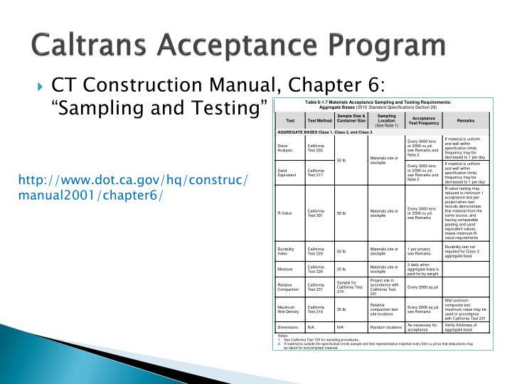Caltrans Acceptance Program