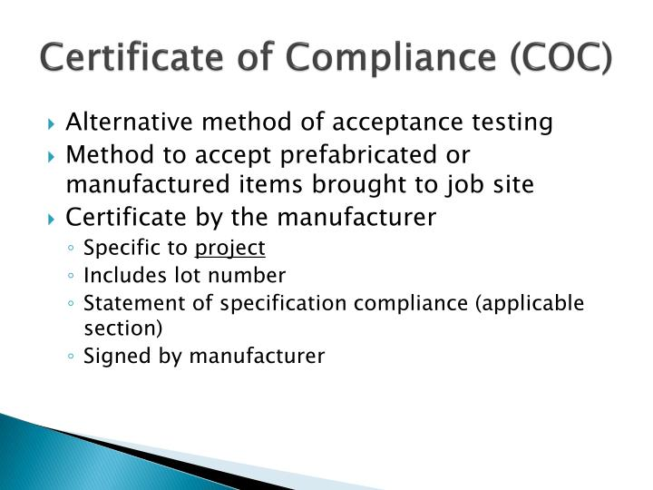 Certificate of Compliance (COC)