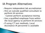 ia program alternatives