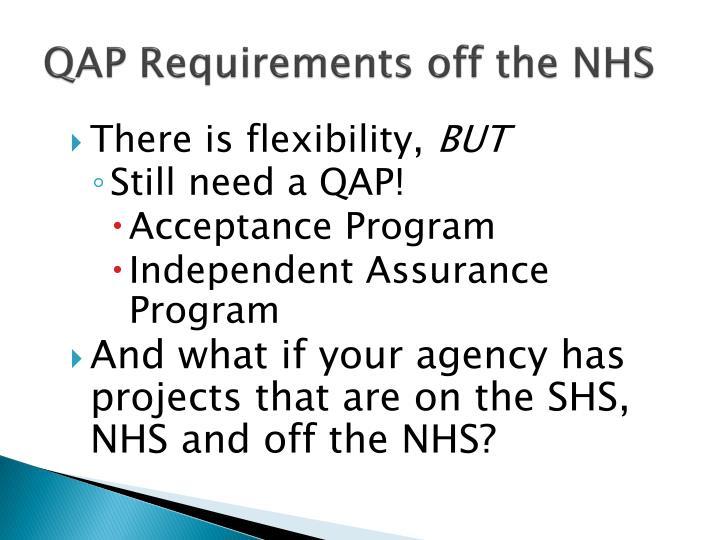 QAP Requirements off the NHS