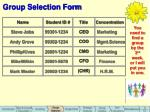 group selection form