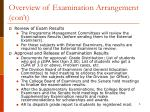 overview of examination arrangement con t