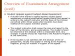 overview of examination arrangement con t1