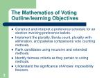 the mathematics of voting outline learning objectives