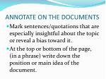 annotate on the documents