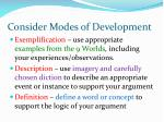 consider modes of development