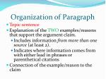organization of paragraph1