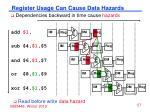 register usage can cause data hazards
