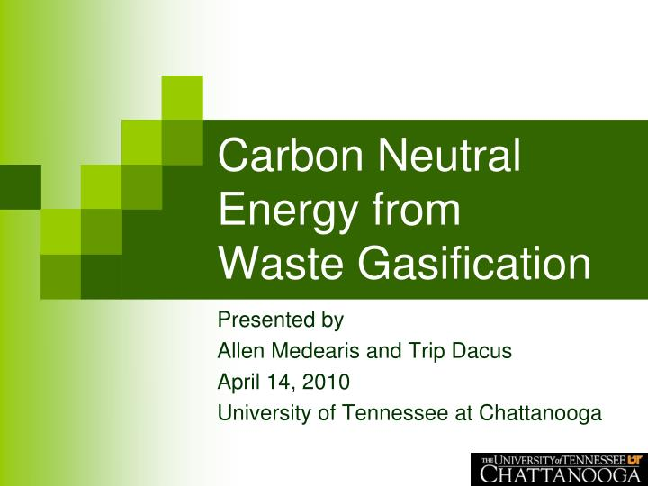 carbon neutral energy from waste gasification n.