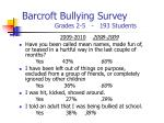barcroft bullying survey grades 2 5 193 students