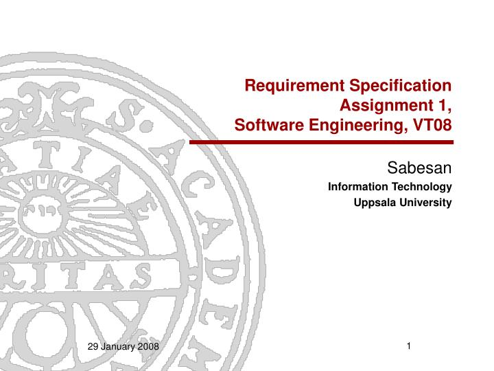 requirement specification assignment 1 software engineering vt08 n.