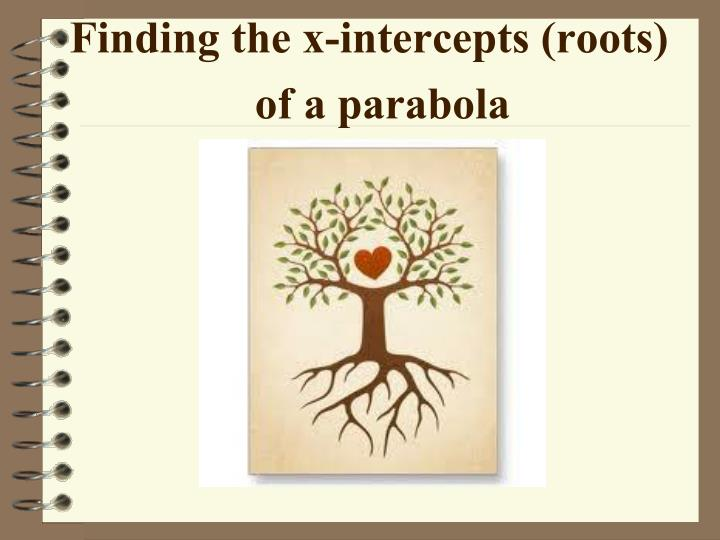 finding the x intercepts roots of a parabola n.