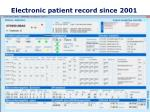 electronic patient record since 2001