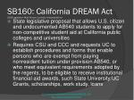 sb160 california dream act 2009 legislation most recent currently in appropriations