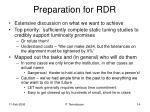 preparation for rdr