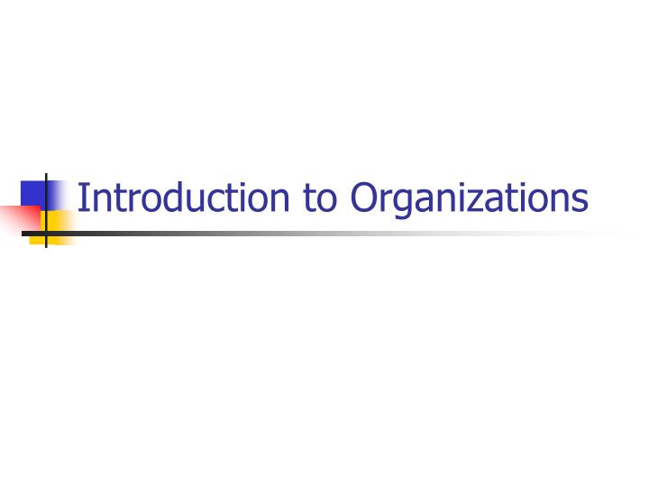 introduction to organizations n.