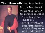 the influence behind absolutism
