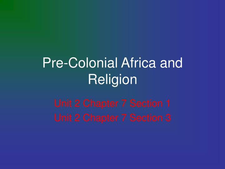 pre colonial africa and religion n.