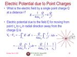 electric potential due to point charges