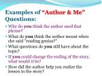 examples of author me questions