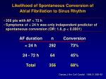 likelihood of spontaneous conversion of atrial fibrillation to sinus rhythm