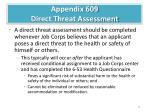 appendix 609 direct threat assessment