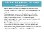 indicators for a health c are n eeds a ssessment