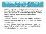 indicators for a health c are n eeds a ssessment1