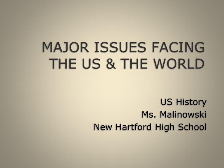 Major issues facing the us the world