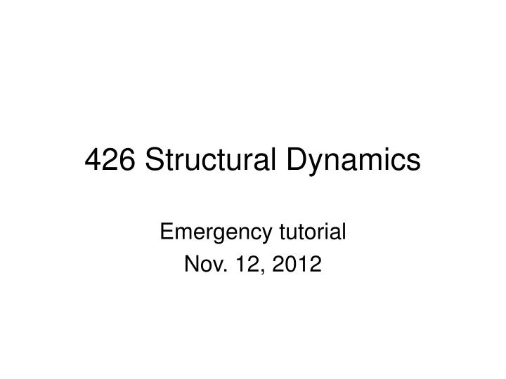 426 structural dynamics n.