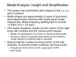 modal analysis insight and simplification