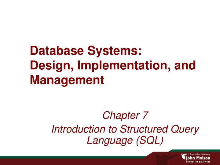 database systems design implementation and management n.
