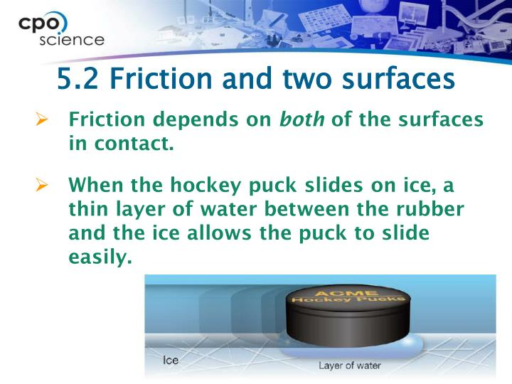 5.2 Friction and two surfaces