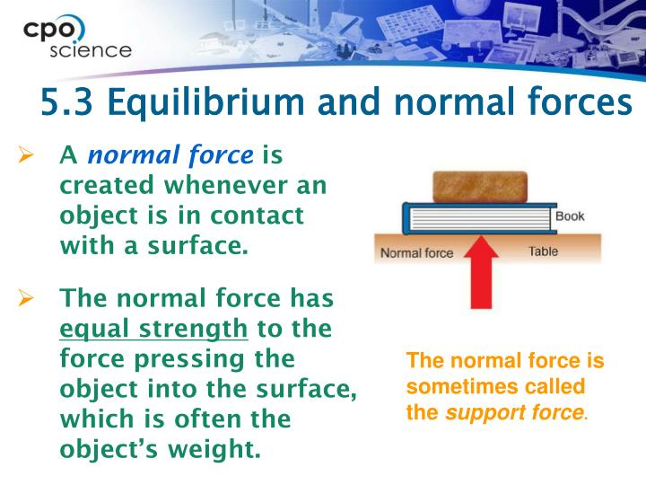5.3 Equilibrium and normal forces