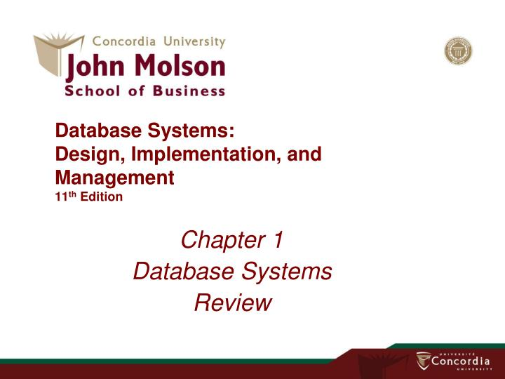 database systems design implementation and management 11 th edition n.