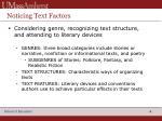 noticing text factors